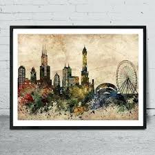 chicago wall decor skyline art print watercolor painting chicago sports wall decor