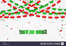Iran Garland Flag With Confetti On Transparent Background