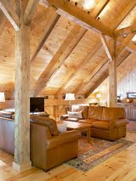 Mid-sized mountain style light wood floor living room photo in Other with a  tv