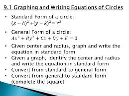 9 1 graphing and writing equations of circles