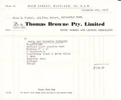 Invoice Papers Personal Papers Invoice To Miss E Porter From Thomas
