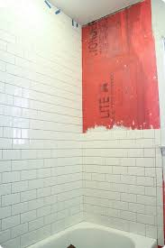 installing subway tile shower surround and