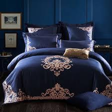 luxury deep blue european bedding sets queen king size embroidery egyptian cotton bedlinens duvet cover bedsheet