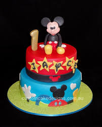 Mickey Mouse 1st Birthday Cake Cake By Custom Cake Designs