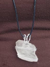 wire wrapped recycled glass pendant. White Sea Glass Pendant Wrapped In Aluminum Wire Recycled E