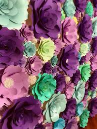 Paper Flower Wall Rental Purple Blue And Green Paper Flower Wall Backdrop 71 Click