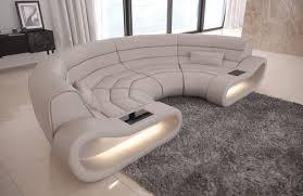 Genuine Leather Sofa Concept U Shape with LED lights - beige