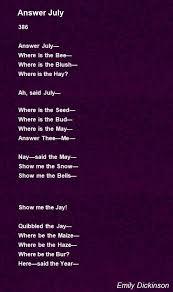 answer poem by emily dickinson poem hunter