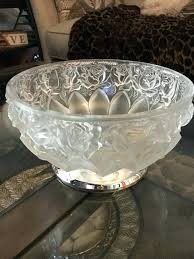large heavy crystal fruit bowl vintage fl