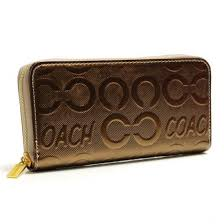 Coach Logo Large Gold Wallets BCV