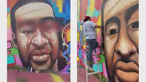 George Floyd mural in Houston defaced ...