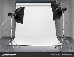 Professional Photography Studio Lighting Equipment Vector Empty Photo Studio With Lighting Equipment Stock