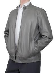 mens luxury leather er jacket grey