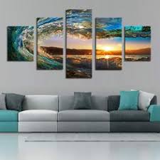 5 piece sea wave painting large canvas wall art huge modern ocean decor printed painting canvas pictures for living room on 5 panel giant dragon wall art canvas with 5 piece buddha statue canvas buddha canvas art pinterest
