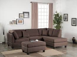 amazon modern contemporary polyfiber fabric sectional sofa and ottoman set chocolate brown kitchen dining