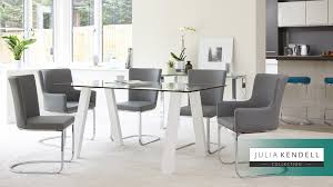 white faux leather modern dining chairs 6 seater modern glass table white gloss