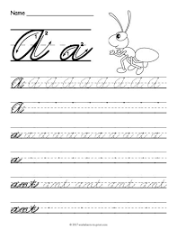 Cursive Letter Chart Free Printable Free Printable Cursive A Worksheet Cursive Writing