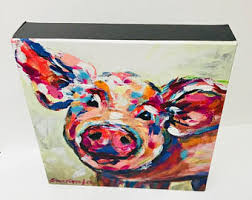 pig painting on pig canvas wall art with stacy spangler art by stacyspanglerart on etsy