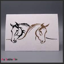 Carte de vœux artisanale motif chevaux.
