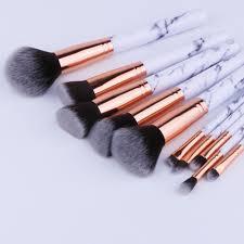 chileelove newest 10 pcs set marble stripe makeup brushes kits blush bulk powder eye shadow highlight repair capacity brush in makeup scissors from beauty