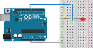 how to use the arduino s digital i o wiring diagram the figure above shows how to connect the led and the 220 ohm resistor to the arduino as shown the led connects to digital i o pin 8 of