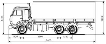 Тормозная система автомобилей семейства КамАЗ Содержание  На рисунке 1 представлена схема автомобиля КамАЗ 53215 с колесной формулой 6×4 предназначенного для перевозки грузов массой до 10 тонн по дорогам с