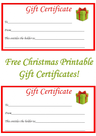 Printable Christmas Certificates Free Printable Christmas Gift Certificate Template Word Printable