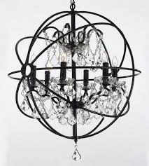 6 light wrought iron crystal orb chandelier lighting