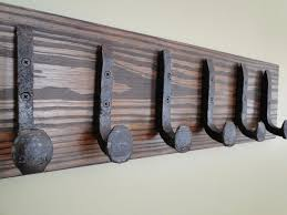 6 railroad spike coat hooks wrought iron style heavy duty towel hooks