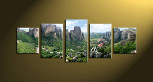 extremely creative panoramic wall art simple design decor 5 piece green mountain canvas home scenery artwork uk australia canada