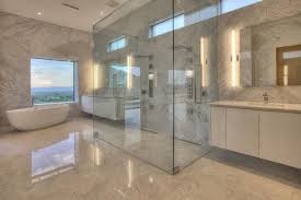 contemporary master bathroom with frameless rain shower bathtub and beige marble floors
