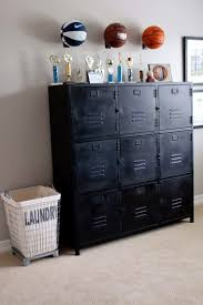 locker cabinet sports ball racks and industrial laundry bin great for baby or kid s room