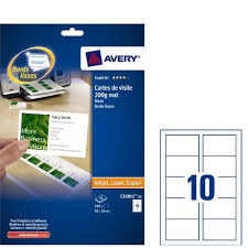 Avery C32011 25 Business Cards 85 X 54mm 10 Per Sheet 250 Cards