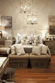 Furniture : Rustic Chic French Country Bedrom With White Bed And Grey  Pillows And Brown Wood Bench Seat Also Rustic Wood Vanity Tablw With Small  Wall Mirror ...