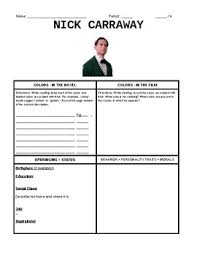 The Great Gatsby Character Chart Worksheet The Great Gatsby Character Worksheets Teaching Resources Tpt