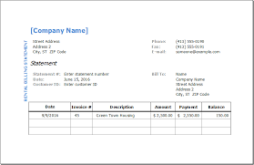 Rental Billing Statement Template Excel Invoice Templates