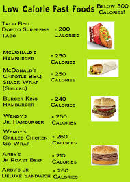 nutritional value of foods chart inspirational fast food items under 300 calories i made this low