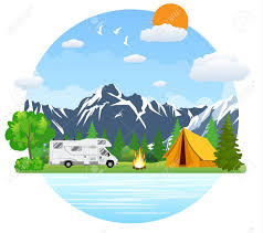 Campsite place in mountain lake. Forest camping landscape with rv traveler  bus in flat design
