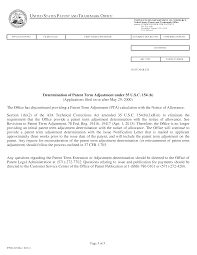 1303 notice of allowance determination of patent term extension or adjustment under 35 u s c 154 b form