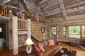 hand hewn skin wall paneling and