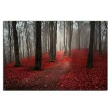 modern large tree painting black white red forest landscape canvas wall art and