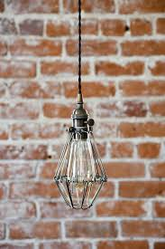 plug in industrial lighting. Industrial Antique Brass Cage Wire Hanging Plug In Pendant Light Lighting C