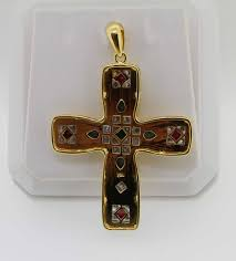the blue sapphires rubies emerald with diamonds cross pendant