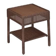 hampton bay park meadows brown wicker outdoor accent table
