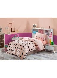 2 piece cats quilt cover set pink black single