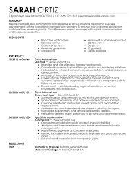 Administrative Sample Resume Clinic Administrator Resume Sample
