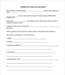 Sample Sublease Agreement Commercial Sublease Agreement Template 11 Simple