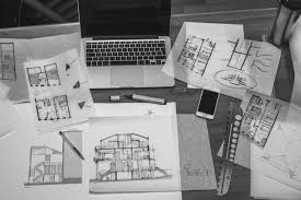 architectural design blueprint. Macbook Work Black And White Architecture House Business Room Monochrome Brand Art Papers Sketch Architectural Design Blueprint P