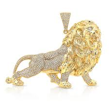 yellow gold custom diamond lion pendant