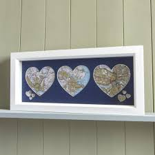 wall art trio of personalised framed map hearts on personalised framed wall art uk with trio of personalised map hearts butler and hill butler and hill uk